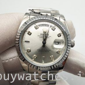 Rolex Day-Date 128239 Αυτόματο ρολόι Mens 36mm Diamond Dial Silver Dial